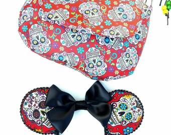 Red Day Of The Dead Shoulder bag, Skull shoulder bag, Cross body skull bag, Dia De Los Muertos bag, Dia de Los Muertos