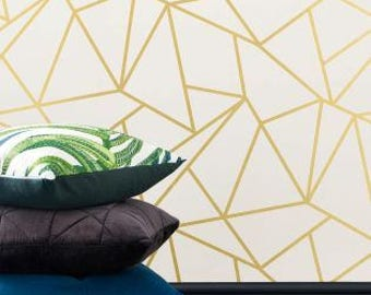 Geometric wallpaper Gold and White / Removable wallpaper geometric / Self-adhesive decorative wallpaper mb094