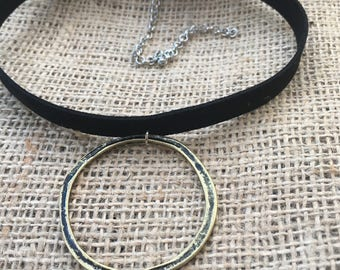 Vegan leather suede o ring punk rock choker necklace