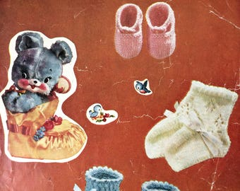 vintage knitting pattern 1960's Lee Target 6538 Baby Bootees and Shoes first size