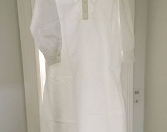 Antique 1900 Embroidered Nightgown/ French Chemise Pure Cotton Small very good.Hand Sewn.For women,teens,clothing,costume,collection