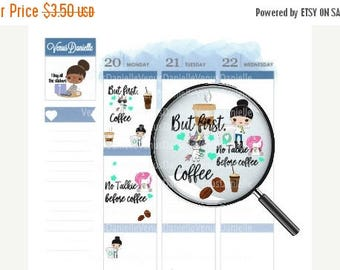 On Sale Coffee Planner Stickers, Coffee Stickers, Coffee Monday, Coffee Sticker, Small Planner Stickers, Traveler's Notebook Stickers