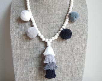 Tiered tassel necklace with pompoms, bohemian style, beach boho, wood beads, beach necklace, summer boho necklace, black and white, gray