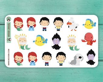 17 Little Mermaid Stickers / Planner Stickers / Decorative Stickers