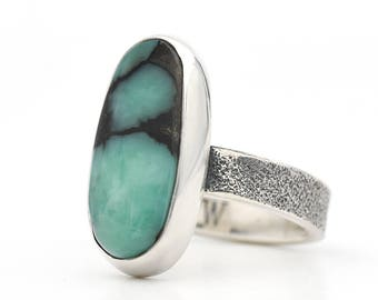 Turquoise Ring, Emerald City Variscite, Variscite Ring, Sterling Silver, Turquoise Jewelry, Handmade Ring, Christmas Gift, Green Turquoise