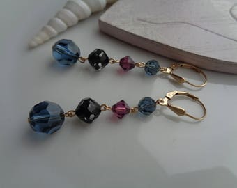 Long gold earrings, 585 gold filled, with crystal in Beernefarbe