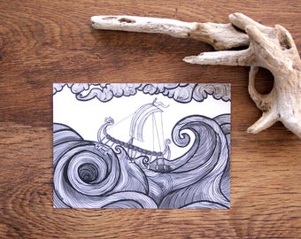 Rough Waters • A5 boat wave illustration • nautical Art print