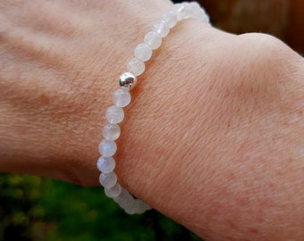 Tiny Moonstone beaded stretch Bracelet Sterling Silver or Gold Fill bead - Chakra - Healing gift