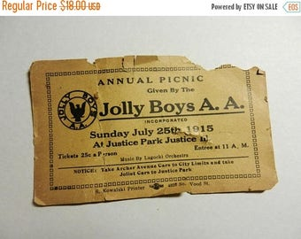 Summer Sale Vintage 1915 Jolly Boys A.A. Annual Picnic Ticket