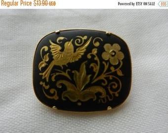 Summer Sale Vintage Spanish Unique Damascene brooch