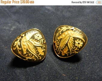 Easter Sale Vintage Spanish Damascening Clip On Earrings