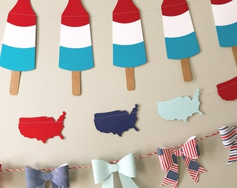 Rocket pops popsicle/ bomb pop/ bomb pop decor / garland / 4th of july america