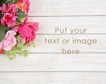 Styled Stock Photography / Flowers / Wood Background / Styled Background / Pink Flowers / Digital Background / Spring / StockStyle-923