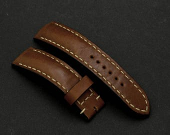 20\18mm Tan color leather watch strap Breitling style for any watches