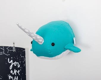 Felt narwhal, narwhal head, animal mount, unicorn of the sea, faux narwhal, narwhal head wall, kids decor, nursery decor, felt narwhal