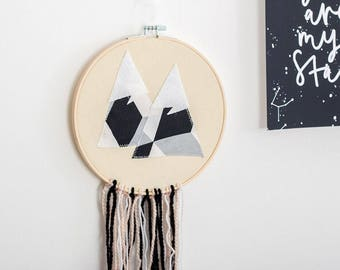 Tapestry, Mountain wall decor, Mountain wall hanging, mountain garland, mountain mobile, monochrome room, mountain, tassel garland, travel
