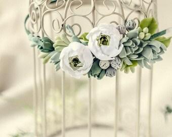 Greenery crown Succulent flower crown Bridal headband  Rustic  Summer Wedding hair wreath Bohemian headpiece succulents jewelry