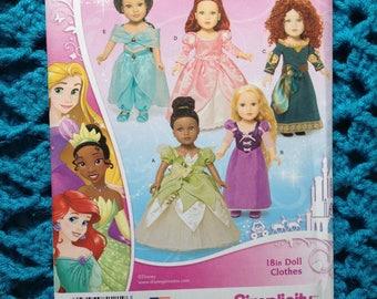 "Simplicity 1219, Disney Princess 18 inch doll clothes, New uncut pattern, 18"" doll, Rapunzel, Merida, Jasmine, Tiana, Ariel, costumes"