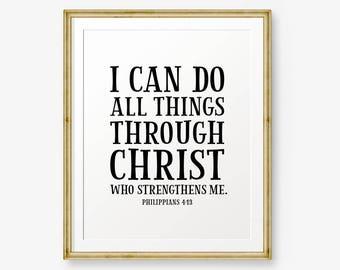 I can do all things through Christ, Philippians 4:13, Bible verse printable, Christian Nursery Wall Art, Christian Gift, Nursery Art