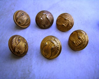 Set of 6 antique buttons uniform 16 mm, military, Air Force, button Club uniform buttons, wing and star.
