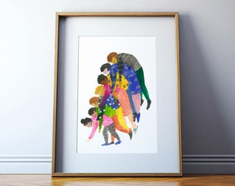 Piggy Back Art Print / Signed
