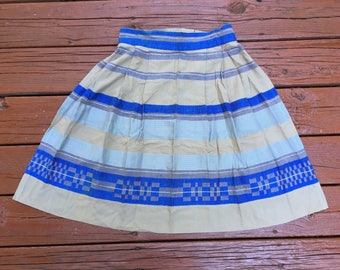 Vintage Woven Half Apron Snap Closure Handmade Kitchen Apron