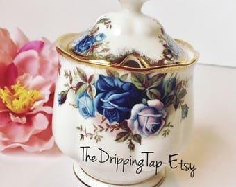 RARE Royal Albert Moonlight Rose Jam Pot Honey Marmalade Jelly Mustard Condiment Sugar Bowl Jar Lidded Lid Gold Trim Flowers Fancy Blue