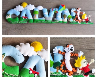 Calvin and Hobbes - Personalized Baby Nursery Name Wall Decor -  Hand- Sewn - ( Price per letter)