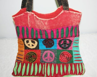 Colorful Hippo Bag, Shopping Bag, Peace, Shopping Bag, Hippo Bag