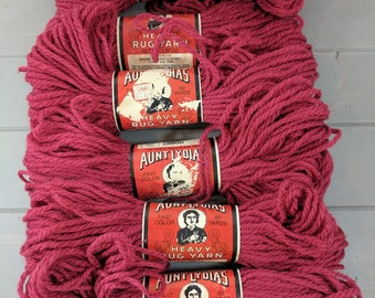 6 Vintage Aunt Lydia's Heavy Rug Yarn Skeins, Color 0155 Persian Red, Caron International, Rochelle Illinois