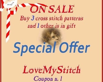 ON SALE Special Offer - Buy 3 Cross Stitch Patterns and 1 other is in Gift
