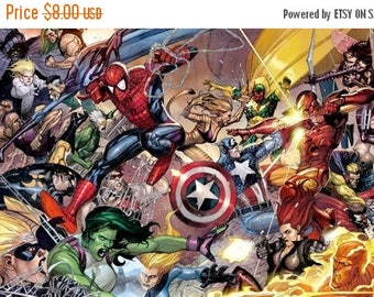 """ON SALE Counted Cross Stitch Pattern - Marvel superheroes - 21.64"""" x 12.21"""" - L552"""