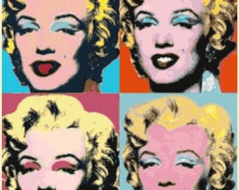 "marilyn monroe Counted Cross Stitch warhol Pattern monroe needlepoint kreuzstitch pdf file chart -15.71"" x 19.71""- L1315"