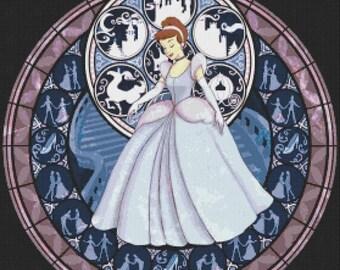 "Cinderella Counted Cross Stitch Cinderella Pattern disney pattern cross stained glass pattern -19.93"" x 20.14"" - L771"