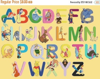 "Alphabet Disney characters Cross Stitch Alphabet Disney Pattern abc pattern ponto de cruz needlepoint -23.64"" x 17.71""- L464"