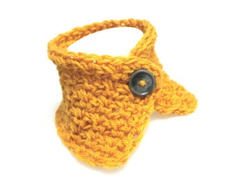 Mustard yellow collar, handmade, charcoal gray marbled button crochet