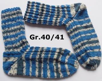 hand-knitted socks, Gr. 40/41 (EU), blue-white