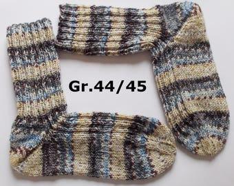 thick hand-knitted socks, Gr. 44/45 (EU),  beige-brown-blue