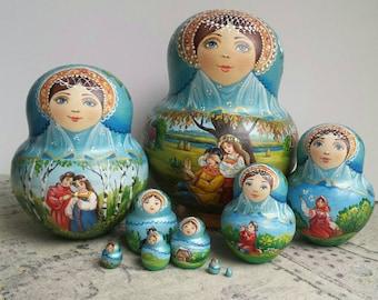 Matryoshka Nesting dolls Love Story Russian doll, babushka dolls, matrioshka, Easter, wooden dolls, hand painted dolls