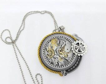 Necklace with Soutache gears Pendant