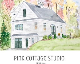 Painting of home, Pink Cottage Studio, Wedding gift for parents, 25th anniversary gift, Wedding registry, First home gift,Paper anniversary