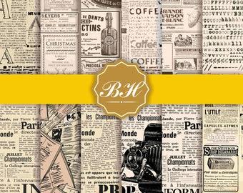 Newspapers Digital Paper, Vintage Newspaper Digital Paper, Old Paper Textures, Magazine Paper, Old Newspapers Backgrounds, Commercial Use