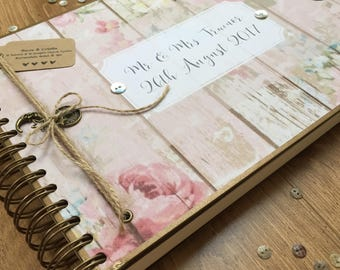Handmade Personalised Guest book/ Scrapbook/ Photo Album/ Memory book/ A4 Luxury/ Any message printed
