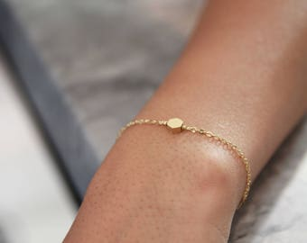 Hexagon Bracelet • Gold Fill Chain Bracelet • Geometric Bracelet • Gift for Her