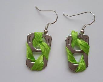 Beautiful earrings capsules Apple green thread