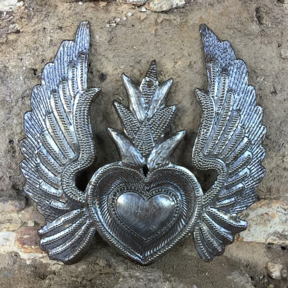"Religious Home & Décor, Hand Pounded Metal Sacred Heart with Wings and Flame Haiti 5"" x 5"""