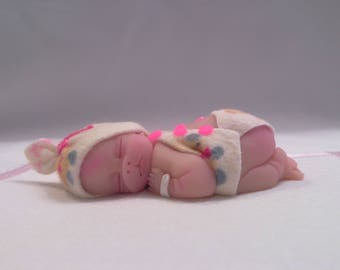 "Polymer Clay Babies ""It's a Girl"" BABY SIZE 2.5"" Gift, Collectible, Cake Topper, Keepsake, Memorial, Baby Shower,  Miscarriage, First Baby"