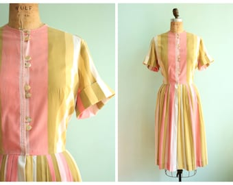 Vintage 1950's Pastel Striped Day Dress | Size Large