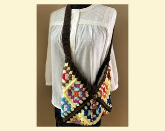 Yellow Bohemian Crochet Granny Squares Bag Lined -  Crossbody Handmade - Multi Colors - Item 501