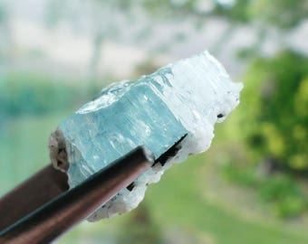 Raw Aquamarine and Tourmaline Crystal Mineral Specimen